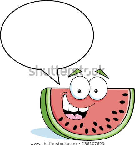 Cartoon watermelon with a caption balloon Stock photo © bennerdesign