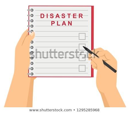 Manos comprobar desastre plan ilustración Foto stock © lenm