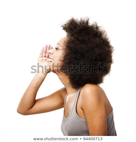 beautiful girl calling for someone or shouting Stock photo © dolgachov