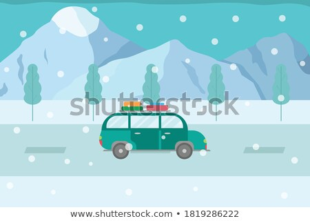 Automobile Winter Road Trip in Countryside Vector Stock photo © robuart