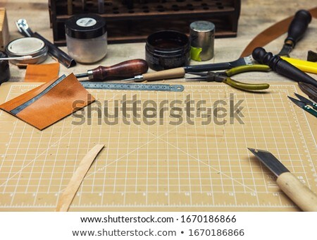 Leathermaker's work desk Stock photo © olira
