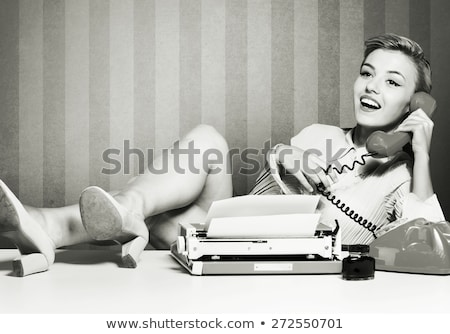 Vrouw retro herleving portret meisje model Stockfoto © fanfo