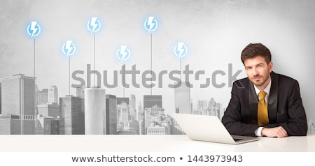 Presenteren stad energie verbruik vergadering bureau Stockfoto © ra2studio