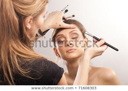 Lány kreatív hajviselet hajviselet portré gyönyörű Stock fotó © zastavkin