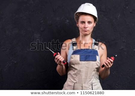mulher · feliz · construção · casa · indústria · trabalhador - foto stock © photography33