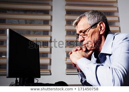 érett üzletember szemüveg mosoly boldog haj Stock fotó © photography33