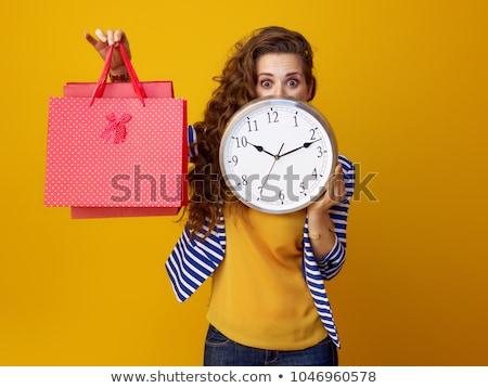 winkelen · tijd · Geel · boodschappentas · klok - stockfoto © devon