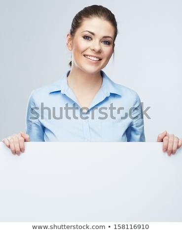 Bastante mulher jovem posando isolado mãos Foto stock © acidgrey