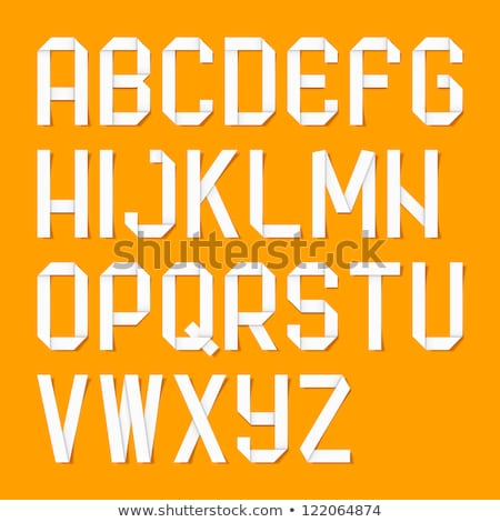Alphabet folded of colored paper - Orange letters Stock photo © Ecelop