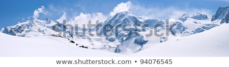 Winter Mountains Landscape With Blue Cloudy Sky Stok fotoğraf © vichie81
