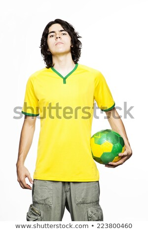 portrait of young beautiful man in yellow jersey Stock photo © stepstock