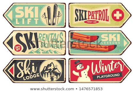 Teken skiën winter vakantie sport sneeuw Stockfoto © Ustofre9