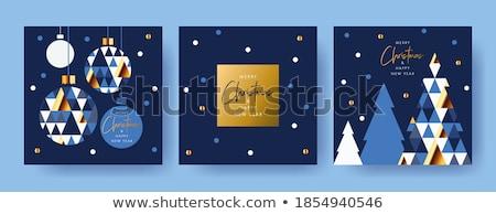 Resumen árbol de navidad azul invierno estrellas retro Foto stock © oly5