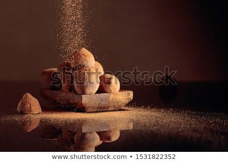 Csokoládé cukorka izolált fehér étel levél Stock fotó © natika