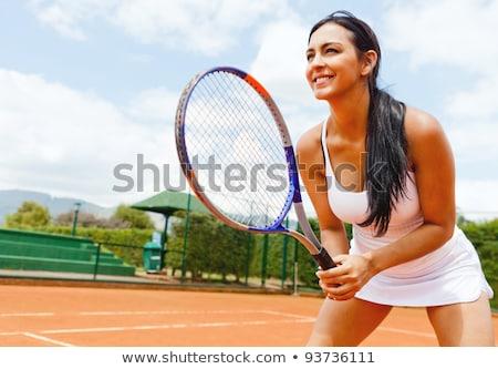 portré · gyönyörű · nő · játszik · tenisz · néz · kamera - stock fotó © nejron