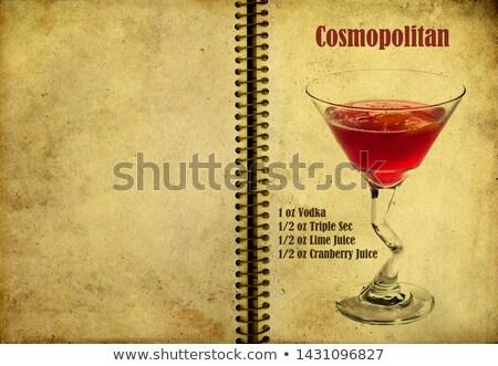 Kozmopolit defter sayfa kırmızı kokteyl hizmet Stok fotoğraf © netkov1