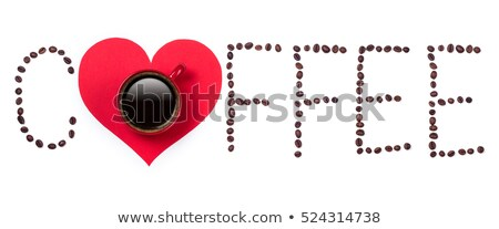 coffee text with coffeebeans and red cup stock photo © viperfzk