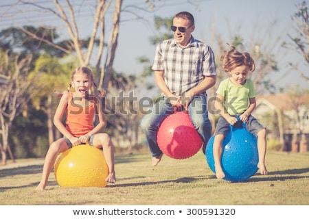 család · fiú · sétál · ősz · park · boldogság - stock fotó © dariazu