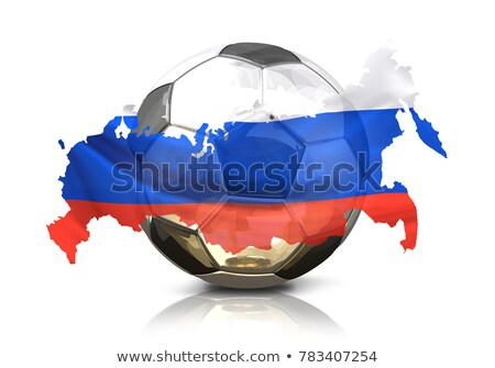 silver golden soccer football ball russia russian map isolated stock photo © wetzkaz