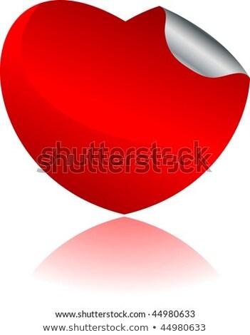 Paper red heart curled corner, vector Stock photo © olehsvetiukha