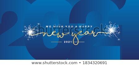 Glückliches neues Jahr Grußkarte Inschrift geometrischen hellen golden Stock foto © FoxysGraphic