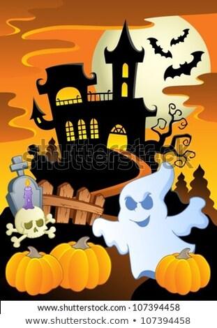 Five scenes of haunted houses at night stock photo © colematt