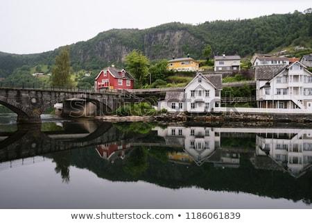 Noors stad Noorwegen oude steen brug Stockfoto © Kotenko
