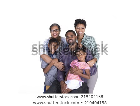 black Boy with grandmother in studio white background Stock photo © Lopolo