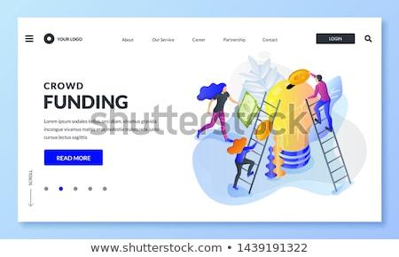 Crowdfunding isometric 3D landing page. Stok fotoğraf © RAStudio
