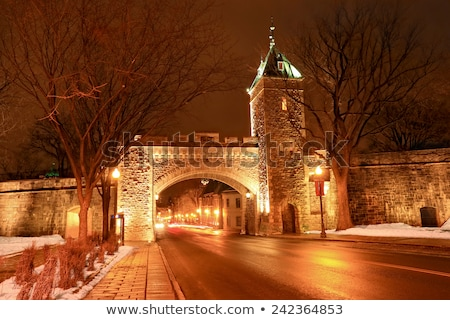 Quebec city landmark. Old fortress in winter.  Night scene from Quebec city, Canada. Stock photo © Lopolo