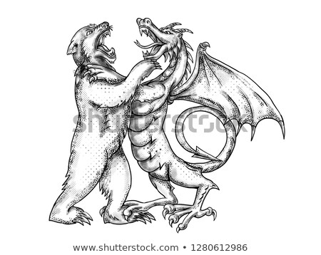 Bear Fighting Chinese Dragon Drawing Black and White Stock photo © patrimonio