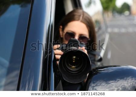 Photographe lentille main homme verre table Photo stock © nomadsoul1