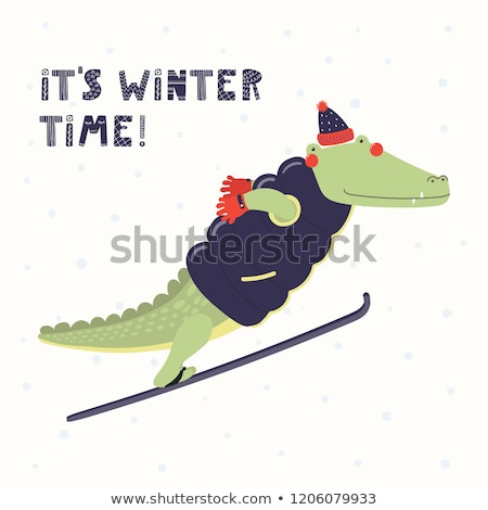 Winter Sport Time hand drawn cartoon doodles illustration. Stock photo © balabolka