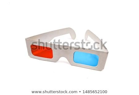 óculos 3d madeira quadro óculos azul secretária Foto stock © magraphics