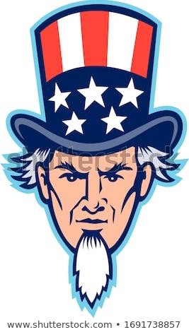 Nagybácsi fej kabala ikon illusztráció amerikai Stock fotó © patrimonio
