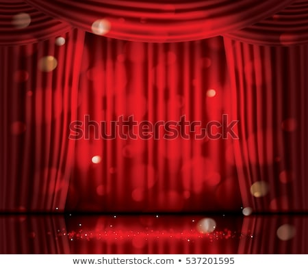 Open Red Curtains with Neon Lights and Copy Space. Stock photo © ShustrikS