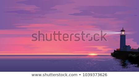 Lighthouse on ocean or sea beach cartoon background vector illustration Stock photo © natali_brill