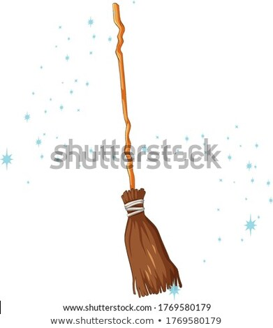 Broomstck magic cartoon style on white background Stock photo © bluering