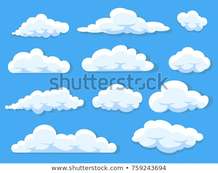 Set of white clouds at blue sky, cartoon clouds with different sizes and forms, cloudscape Stock photo © robuart