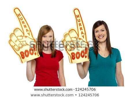 Cheerful girl with fan foam hand Stock photo © goir