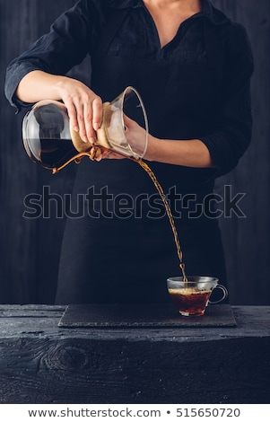glass cup cofee beans  on a black background Stock photo © OleksandrO