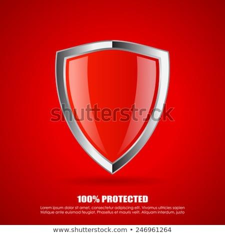 Rood veiligheid schild teken witte virus Stockfoto © tilo