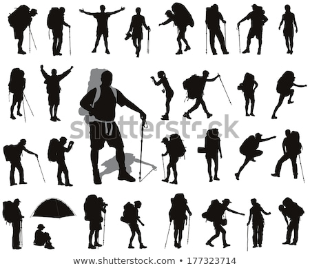 Mountain climber silhouette vector Stock photo © krabata