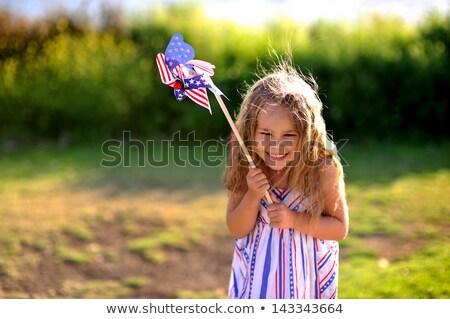 Vaqueiro menina bandeira americana mulheres estrelas liberdade Foto stock © arturkurjan