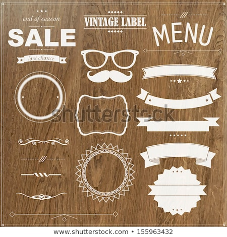 set of vintage badges with wood background stock photo © adamson