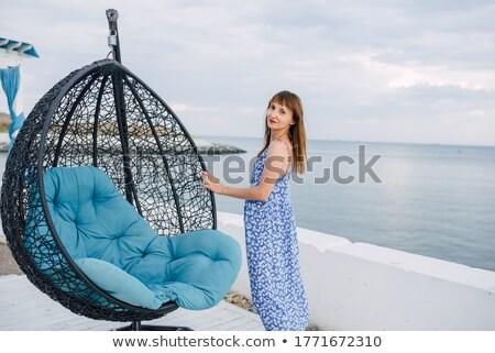Skinny brunette lady relaxing in tropics Stock photo © konradbak