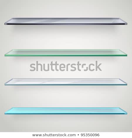 Photo stock: Livres · verre · plateau · bois · placard