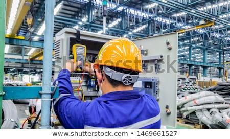 Villanyszerelő tart nagyfeszültség erő kábel izolált Stock fotó © Saphira
