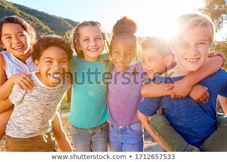 Lány hordoz barát vidék út természet Stock fotó © IS2