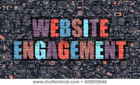 Weboldal eljegyzés firka terv ikonok felirat Stock fotó © tashatuvango